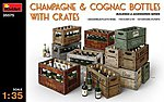 Champagne Cognac Bottles with Crates -- Plastic Model Diorama Accessory -- 1/35 Scale -- #35575