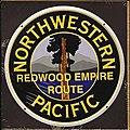 Embossed Die-Cut Metal Sign - Northwestern Pacific -- Model Railroad Print Sign -- #10033