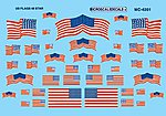 American 48-Star Flags Decals -- HO Scale Model Railroad Decal -- #4201