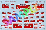 Canadian Flags Red w/Union Jack in Field (1870-1965) -- HO Scale Model Railroad Decal -- #4371