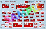 1870-1965 Red w/Union Jack in Field -- N Scale Model Railroad Decal -- #604371
