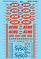 ACME & Sysco Refrigerated Trailers -- HO Scale Model Railroad Decal -- #871453