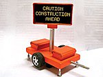 Caution Construction Ahead Mobile Sign w/Transformer -- HO Scale Model Railroad Accessory -- #850010