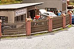 Fence w/Brick Columns Kit -- HO Scale Model Railroad Building Accessory -- #14235