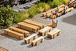 Wood Plank Piles Kit (8) -- N Scale Model Railroad Accessory -- #14628