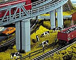 Double Bridge Piers -- HO Scale Model Railroad Bridge -- #21420