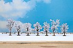 7 Winter Deciduous Trees w/Snow (8 - 10cm) -- Model Railroad Trees -- #25075