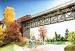 Steel Truss Bridge Kit (4'' Long, Single Track) -- N Scale Model Railroad Bridge -- #62810