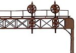 Two-Track Signal Bridge (Plastic Kit) -- 2 Each Round and Flat Sided PRR Position Light Signal Heads - HO-Scale