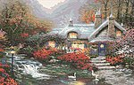 Thomas Kinkade- Evening Swanbrooke Cottage (20''x16'') -- Paint By Number Kit -- #13393
