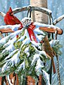 Heirlooms (Cardinals on Christmas Decorated Sled Snow Scene) -- Paint By Number Kit -- #22028