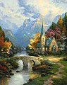 Thomas Kinkade- The Mountain Chapel (16''x20'') -- Paint By Number Kit -- #22030