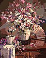 Oriental Fan & vase w/Flowers (16''x20'') -- Paint By Number Kit -- #22033