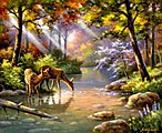 Do Ray Me Creek (Deer/Creek/Forest)(20''x16'') -- Paint By Number Kit -- #22050