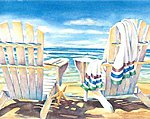 Seaside (Chairs on Beach) (11''x14'') -- Beginner Paint By Number Kit -- #22058