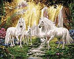 Waterfall Glade Unicorns (16''x20'') -- Paint By Number Kit -- #22060