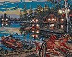 Loon Lake (Chairs at Dock/Cabin) (11''x14'') -- Beginner Paint By Number Kit -- #22064