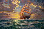 Thomas Kinkade- Courageous Voyage (Sailing Ship) Paint by Number (20''x16'')