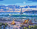 Beach Moonlit Night w/Fire Canvas Paint by Number w/Lights (11''x14'')