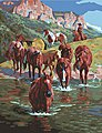 The Crossing (Horses/Stream) Paint by Number (16''x20'') -- Paint By Number Kit -- #59776