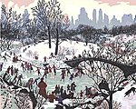 Smithsonian American Art Skating in Central Park (20''x16'') -- Paint By Number Kit -- #59780