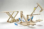 Hydraulic Machines 4 in 1 Wooden Kit- Cherry Picker, Platform Lifter, Excavator, Scissor Lift