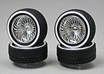 Chrome Deep DZ's w/Whitewall (4) -- Plastic Model Tire Wheel -- 1/24 Scale -- #1113