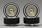 Triple Gold DZ's w/Whitewall (4) -- Plastic Model Tire Wheel -- 1/24 Scale -- #1117