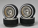 Gold Face DZ's w/Whitewall (4) -- Plastic Model Tire Wheel -- 1/24 Scale -- #1119