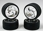Tri Blade Chrome Rims w/Tires (4) -- Plastic Model Tire Wheel -- 1/24 Scale -- #1202