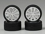 Chrome Bella's Rims w/Tires (4) -- Plastic Model Tire Wheel -- 1/24 Scale -- #1250