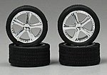 Belagios Chrome Rims with Tires (4) -- Plastic Model Vehicle Accessory -- 1/24 Scale -- #1262
