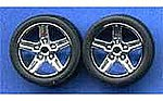 Chrome Irok's Rims w/Tires (4) -- Plastic Model Tire Wheel -- 1/24 Scale -- #1266