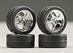 19'' Alta's w/Tires Chrome (4) -- Plastic Model Tire Wheel -- 1/24 Scale -- #1284