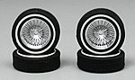 Low Profile Whitewall Chrome (4) -- Plastic Model Tire Wheel -- 1/18 Scale -- #1401