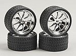 Vantage w/Tires 23 Chrome (4) -- Plastic Model Tire Wheel -- 1/24 Scale -- #2201