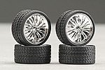 Vanquish 23'' Chrome Rims w/Tires (4) -- Plastic Model Tire Wheel -- 1/24 Scale -- #2205