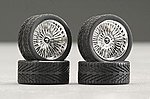 23'' DZ's Chrome (4) -- Plastic Model Tire Wheel -- 1/24 Scale -- #2298