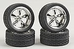 T's w/Tires 23'' Chrome (4) -- Plastic Model Tire Wheel -- 1/24 Scale -- #2301