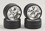Phat Daddies w/Tires 23'' Chrome (4) -- Plastic Model Tire Wheel -- 1/24 Scale -- #2303