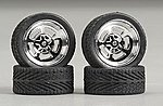 Holli's w/Tires 23'' Chrome (4) -- Plastic Model Tire Wheel -- 1/24 Scale -- #2305