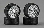 Magnums 23'' Chrome Rims w/Tires (4) -- Plastic Model Tire Wheel -- 1/24 Scale -- #2312
