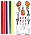 Pinewood Derby Stripe & Flame Decal -- Pinewood Derby Decal and Finishing -- #p307