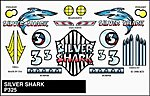 Pinewood Derby Silver Shark Stick-On Decal -- Pinewood Derby Decal and Finishing -- #p325