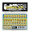 Pinewood Derby Yellow Numbers Dry Transfer -- Pinewood Derby Decal and Finishing -- #p4016