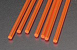 Rod Round Fluorescent Red 1/8 (7) -- Model Scratch Building Plastic Rods -- #90273