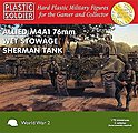 WWII Allied M4A1 76mm Wet Stowage Sherman Tank (3) -- Plastic Model Tank Kit -- 1/72 Scale -- #7209