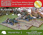 WWII Russian Zis2/3 Gun (4) & Crew (16) -- Plastic Model Artillery Kit -- 1/72 Scale -- #7212