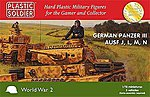 WWII German Panzer III Ausf J/L/M/N (3) -- Plastic Model Military Kit -- 1/72 Scale -- #7228