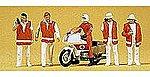 Emergency Personnel Doctors w/Motorcycle (6) -- Model Railroad Figures -- HO Scale -- #10100
